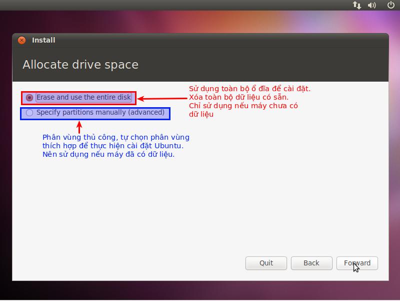 Lựa chọn khi cài đặt mới lên ổ đĩa