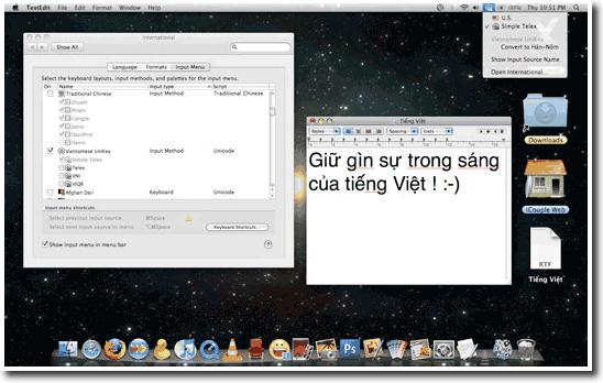 Mac OS Leopard hỗ trợ tiếng Việt tốt hơn với Unikey
