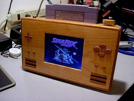 Máy SNES cầm tay bằng gỗ
