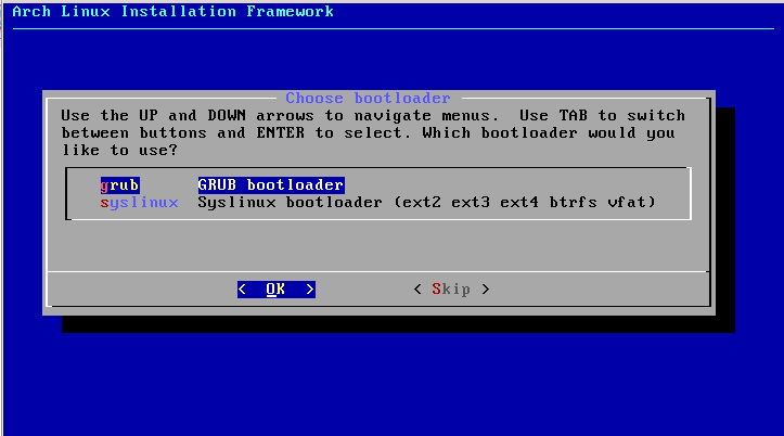 Chọn bootloader