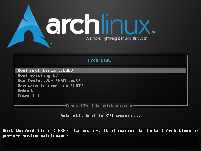 Boot to Arch Linux live