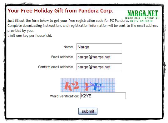 C Pandora Register Information