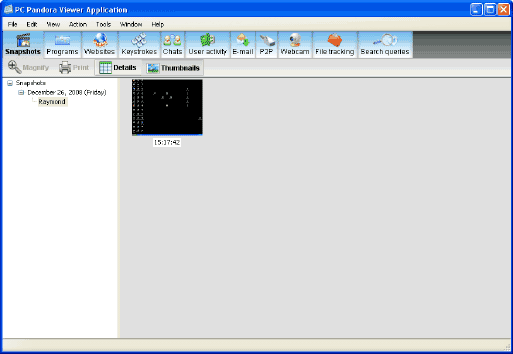 PC Pandora Keylogger Main screen
