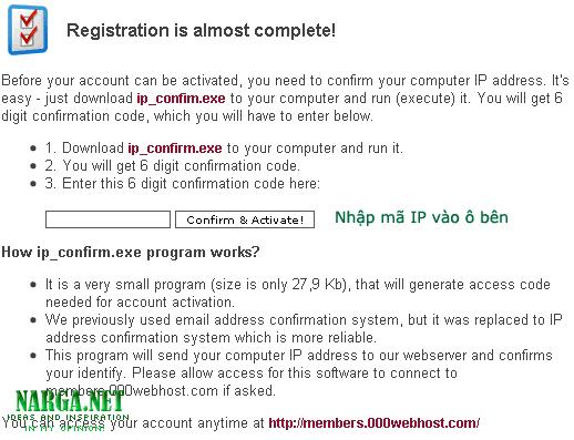 Trang xác nhận IP