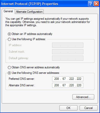 Sử dụng Open DNS để vào FaceBook