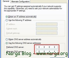 Use the following DNS server addresses