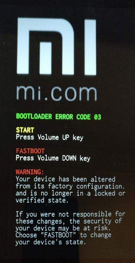 Xiaomi MiPad 2 - Bootloader Error Code 03